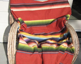 """Very Large Vintage Southwest Red Wool & Cotton MEXICAN SERAPE Saltillo BLANKET (64""""x93""""+5"""" fringe). In Very Nice Condition!"""