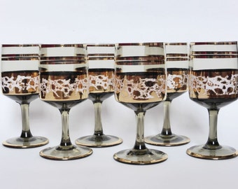 Frosted Mid Century Modern Sherry / Port / Spirits Glasses, Set of 6, Retro Glassware, 1950s Drinking Glasses, Barware, Bar Decor