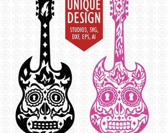Sugar skull & tribal 2 designs guitar SVG, DXF, studio3, eps, ai files download for cricut, silhouette cameo, other machine, vinyl, decals