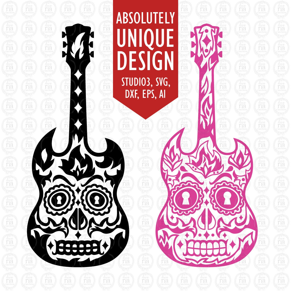 Sugar Skull Amp Tribal 2 Designs Guitar Svg Dxf Studio3 Eps