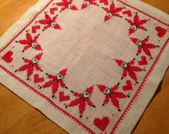 Scandinavia / Swedish hand-embroidered cloth from the 40's with small gnomes