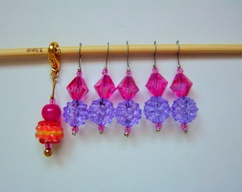 Snag-free Stitch Marker Set Pink Yellow Acrylic Bead Removable