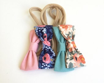 Rifle Paper Co. MINI Girls Hair Bows - Set of Four (4) // Girls Hair Bows - Includes All 4 Pictured. Newborn - Toddler Bows.