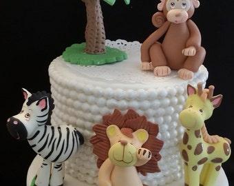 Safari Cake Topper, Jungle Centerpiece, Safari Cake Decoration, Safari Birthday Party, Jungle Decoration, Jungle Birthday, Jungle Animal Set