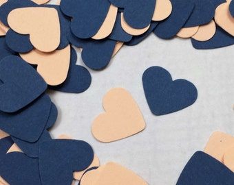500 Navy Blue and Peach Confetti Hearts - Peach and Navy Blue Table Scatter for Wedding Decor