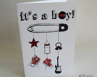 Alternative New Baby Card Its A Boy Rockabilly Tattoo Rock n Roll Punk Goth Red