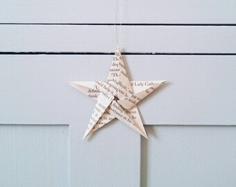 Pack of Ten Origami Paper Stars~ Vintage Book Paper