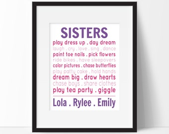 Sisters Prints - Sister Typography Print - Personalized Name Print - Playroom Wall Art - Girls Room Decor - Sisters Nursery - Sibling Decor