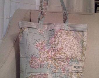 Map oilcloth tote / book / shopping bag