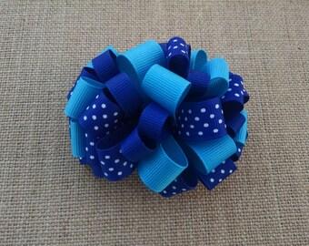 Blue Hairbow, Polka Dot Hairbow, Loopy Hairbow, Girls Hair Accessory, Loopy Hair Clip, Toddler Hairbow, Little Girls Hairbow