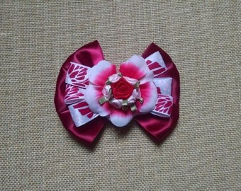 Burgundy Hairbow, Rose Hairbow, Flower Hairbow, Girls Hair Accessory, Toddler Hairbow, Girls Hairbow, Little Girl Hairbow, Baby Girl Hairbow