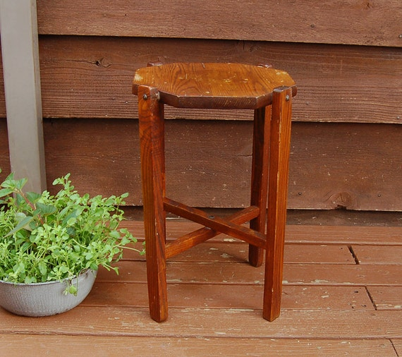 Wood plant stand vintage tall wooden