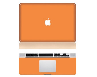 "Macbook Orange Front & Wrist Sticker Vinyl Decal Cover For Macbook Pro 13"" Comes with free keyboard cover and gift"
