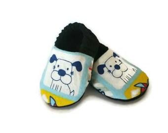 Unisex crib shoes, soft soled baby shoes, dog crib shoes, lined baby shoes, stay on baby shoes, reversible crib shoes