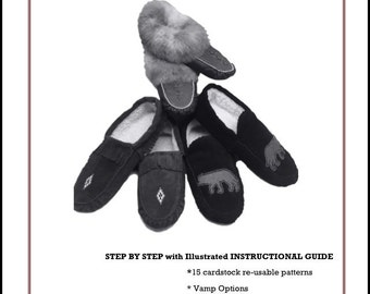 How to make Moccasins ~ Step by Step Instructional Guide  Easy reusable cardstock Patterns includes 14 sizes from infant 0 to mens 11-12
