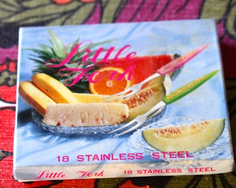 Retro Little Fork Stainless Steel Cocktail Forks - 1960s Original Packaging