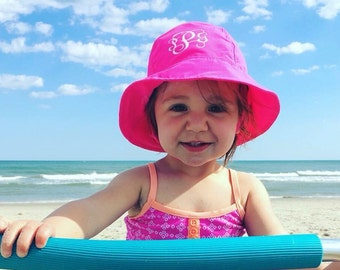 Baby Sun Hat - Monogram Pool or Beach Bucket Hat with Chin Strap