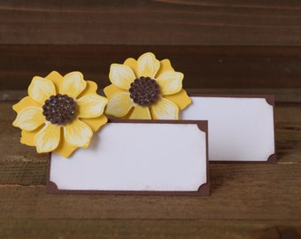 sunflower place card holders sunflower food tent labels sunflower party decor set of