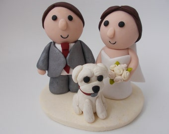 personalized wedding cake topper with dog - custom made - bride and groom - pets