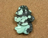 Natural Turquoise Carved Flower Pendant - Teal and Black Front Drilled Focal Bead