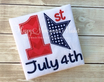 Baby's First Fourth of July Patriotic baby July 4th bodysuit tshirt shirt monogrammed personalized