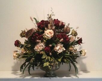 Floral Arrangement, XL Floral Centerpiece, SHIPPING INCLUDED, Elegant Tuscan Large Silk Floral Arrangement, Foyer,Dining Room Centerpiece