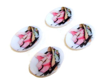 4 pcs of 27 x 20 mm Vintage Style Pretty Lady Resin Cameo, Jewellery supplies, Great for Brooches or Pendants,Lady in a hat resin cameo