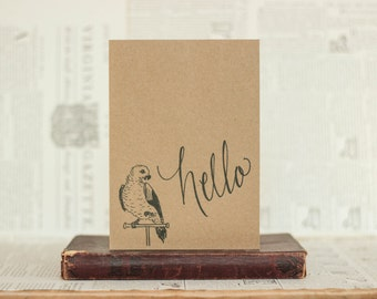 Hello Parrot Black Inkwell Card: Brown Kraft Paper