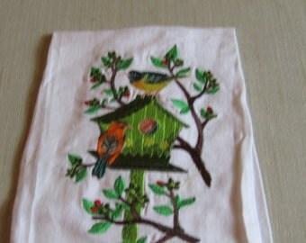 Birds on a Birdhouse in Tree guest towel