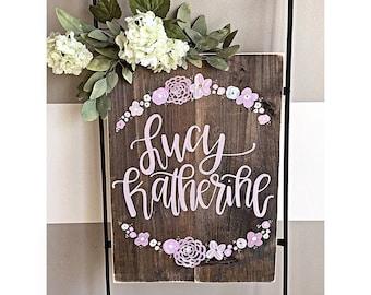 Nursery Decor | Hospital Door Hanger | Newborn | Rustic | Home Decor | Hand Painted Wood Sign