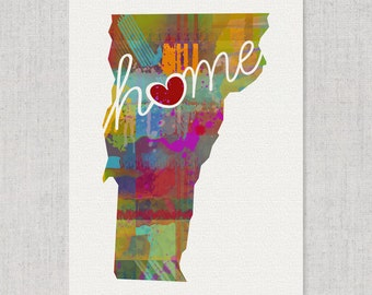 Vermont Love - VT - A Colorful Watercolor Style Wall Art Hanging & State Map Artwork Print - College, Moving, Engagement and Shower Gift