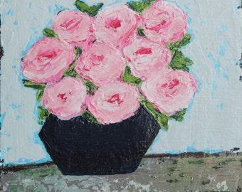 Roses 8x8 original palette knife painting