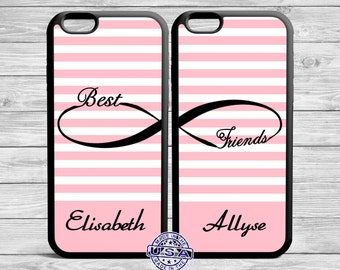 Best Friend Iphone Case Infinity Pink Stripes Case For iPhone and Galaxy TWO CASE SET