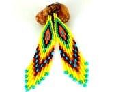 Tribal earrings Yellow blue handmade earrings Ethnic earrings Beaded earrings Holiday gift for her Beaded long earrings Seed bead earrings