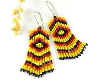 Red black yellow Gift for her Yellow red ethnic earrings Dangle earrings Tribal earrings Native jewelry Native earrings gift Indian style