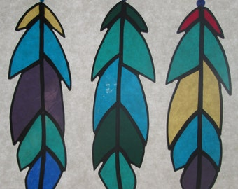 Stained Glass Feathers - Set of 3  ***New Colors***