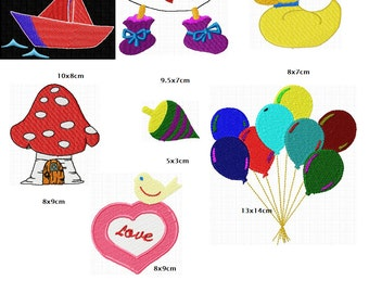 7 embroidery patterns children motives immediately download instant download
