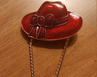 Quirky Vintage Red Enamel Bonnet Hat Brooch