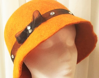 Pumpkin Orange Cloche Flapper hat