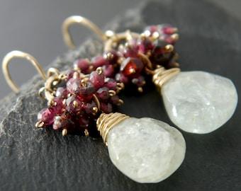 Aquamarine Earrings, Garnet Earrings, 14K Gold Filled, Wire Wrapped, Gemstone Briolette, Teardrop, Cluster Earrings, Flower, Floral, Wedding