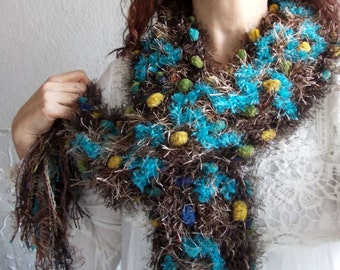 Hot Chocolate and Turquoise...Shades of brown, Green, Yellow, Blue, Hand Knit Pom Pom Scarf, Women Textured Colorful Neckwarmer, Cozy Scarf.