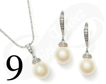 Set of 9 Bridal Jewelry Set Earring and Necklace Set Bridesmaid Jewelry Set Pearl Set Wedding Jewelry Set Bridal Jewlery Set Pearl Sets