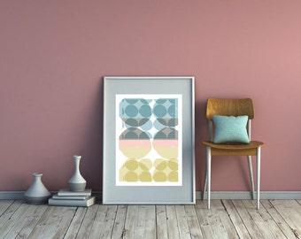 Giclee Scandi Dots Art Print. Circle Print. Geometric Fine Art Print