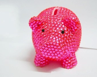 Best Birthday Gift Free shipping Pure Handmade Sparkle Lovely Piggy crystal piggy bank,bling saving bank,rhinestone coin bank,jeweled bank