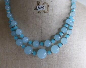 Necklace of Brazilian Aquamarine and Swarowski glass.