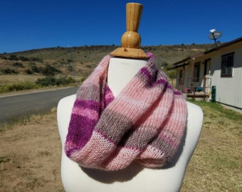 Pink Cowl, Pink Scarf, Cowl, Scarf, Neck Warmer, Knitted Cowl, Crochet Cowl