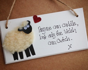 Handcrafted wooden sheep sign plaque gift cwtch welsh gift present wales
