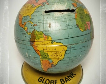 Vintage J. Chein & Co World Bank/ Metal Piggy Bank / Coin Bank / Globe Bank/ Cake Topper/ Best Gift Idea / F1330