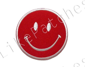 Smiley Face Red Patch New Sew / Iron On Patch Embroidered Applique Size 6.6cm.x6.6cm.