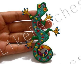 Green Fancy Gecko Reptile New Sew / Iron on Patch Embroidered Applique Size 6cm.x9.6cm.